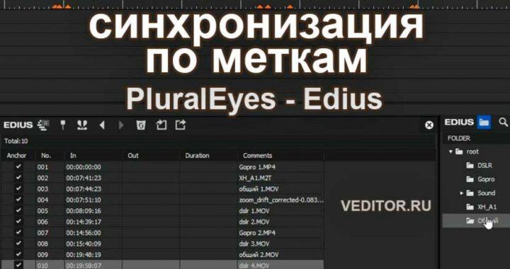 Синхронизация PluralEyes - EDIUS через метки